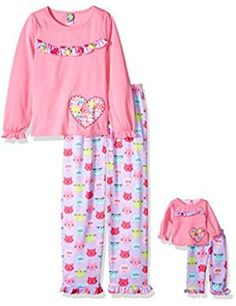 Lullaby Baby Girls Cute Floral Elephant Print Long Sleeve Cotton Pyjamas Lilac