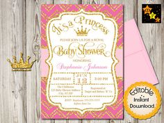 Baby Shower Princess Invitation Girl Hot Pink and Gold
