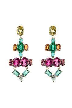 Diamond, multicolor beryl, rubellite, orange sapphire, and emerald Nikos Koulis earrings
