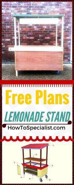 How to build a lemonade stand - Easy to follow ideas, instructions and free plans for you to make a lemonade stand for your kids!