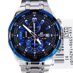 Picture of Casio Edifice Black Blue Dial Mens Watch EFR-539D-1A2 EFR539D