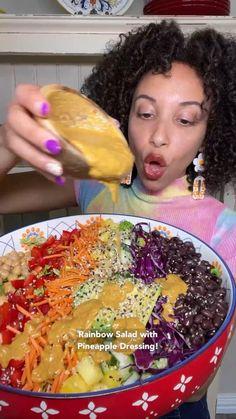 Easy Salads, Healthy Salad Recipes, Healthy Food, Vegan Recipes, Snack Recipes, Healthy Eating, Rainbow Salad, Eat The Rainbow, Chickpea Salad