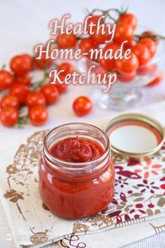 Healthy Home-made Ketchup (low-carb, paleo, keto) 1 cup tomato purée  ¼ cup apple cider vinegar or white / red wine vinegar, or try my home-made fruit vinegar (60 ml / 2 fl oz) 1 small onion (60g / 2.1 oz) 2 cloves garlic ⅛ tsp allspice ⅛ tsp ground cloves 3-6 drops stevia (I use SweetLeaf) 2 tbsp Erythritol or Swerve or other healthy low-carb sweetener from this list (20g / 0.7 oz) 1 tsp sea salt or pink Himalayan salt pinch ground black pepper ¼ cup water or more if too thick (60 ml / 2 fl…
