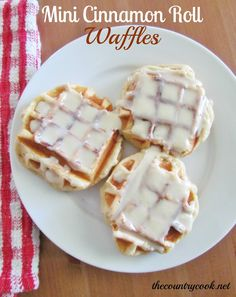 I made these this morning. My boys <3 them & so did I! Easy too!   The Country Cook: Mini Cinnamon Roll Waffles  = I call these cheaters = tube of cinnamon rolls & waffle iron LOL