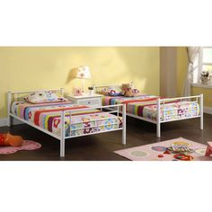 Twin over Twin Sturdy Steel Metal Bunk Bed in White Finish Steel Metal, Steel Frame, Metal Bunk Beds, Bunk Bed Designs, Twin Bunk Beds, Home Collections, Space Saving, Toddler Bed, Twins