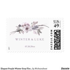 Elegant Purple Winter Gray Floral Wedding Stamp