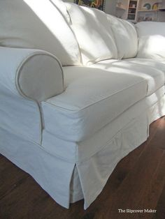 Slipcover in natural duck cloth (canvas). Tough, protective and super versatile. Sectional Slipcover, Slipcovers, Furniture Makeover, Diy Furniture, Drop Cloth Slipcover, Living Room Redo, Chair Covers, Home Interior Design, Side Chairs