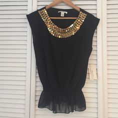 Kenneth Cole Dressy Top Sleeveless black gauzy top with embellished  gold neckline and gathered bottom. Brand new with tags, never been worn! Kenneth Cole Tops Blouses