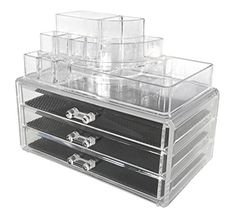 Sodynee Acrylic Makeup organizer Cosmetic organizer Jewelry and Cosmetic Storage Display Boxes Two Pieces Set3 Drawer makeup storage  Lipstick Liner Brush Holder ** Click on the image for additional details. (Note:Amazon affiliate link)