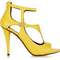 Designer Clothes, Shoes & Bags for Women Yellow Heeled Sandals, Yellow High Heels, Leather High Heels, Leather Sandals, Balmain Shoes, Dream Shoes, Pierre Balmain, Shoes Heels, Yellow Leather