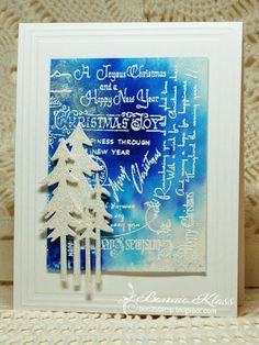 Stamping with Klass: Christmas Script for CAS Watercolour Reminder Stamped Christmas Cards, Christmas Tree Cards, All Things Christmas, Christmas Tree Decorations, Handmade Christmas, Holiday Cards, Christmas Crafts, Christmas 2015, Christmas Ideas