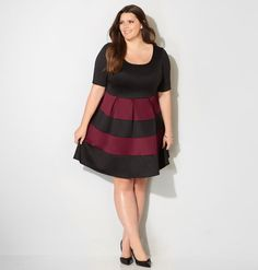 Merlot Colorblocked Stripe Fit and Flare Dress