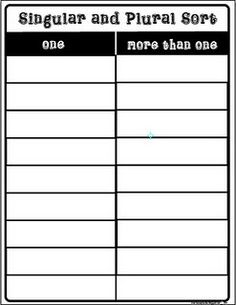 Free singular/plural noun sort printable. One way to move away from fill in the blank worksheets - higher level thinking:)