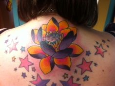 #tattoo #waterlily #cancersucks My new ink! Water lily in memory of my sweet cousin who died of sarcoma cancer at 17 years old. RIP Bekah Boo I love you!