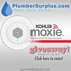 Enter to win a Kohler Moxie Showerhead from PlumberSurplus.com.