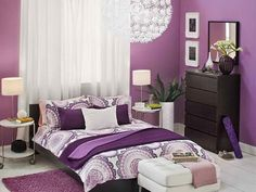 Bedroom, Glass Window Design Idea Also Purple Wall Coor Design Idea Also Bedroom Paintng Idea For Adults Design Idea Then Pendant Lamp ~ Exciting Design Of Bedroom Painting Ideas For Adults With Great Style And Sweet Decoration