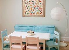 "Fabric framed on the wall – Schumacher's Lulu DK ""Butterfly""  Playroom Furniture – PB Teen -via House of Turquoise blog"