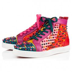 ac89c5ae790 Christian Louboutin Louis Spikes Mens Flat Multicolor Suede Mens Basket  Homme