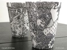 Styrofoam cup and sharpie marker.   Pretty neat, huh?