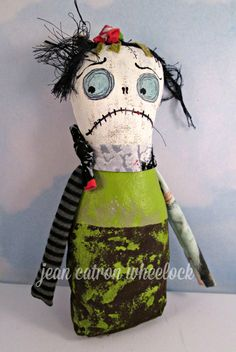 Monster Doll - Halloween Art Doll - Handmade Folk Art - Original OOAK - Free USA Shipping - Textile Original by Treasuresnwhimsy on Etsy
