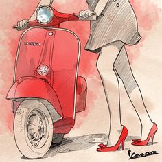 Betta Getta on the red Vespa Vespa Ape, Piaggio Vespa, Lambretta Scooter, Vespa Scooters, Vintage Vespa, Vespa Girl, Scooter Girl, Vespa Illustration, Classic Vespa