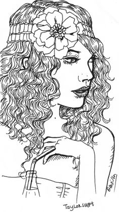 It is a photo of Dashing Taylor Swift Coloring Page