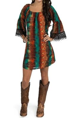 Voll Women's Multicolored Peasant Short Dress with Lace