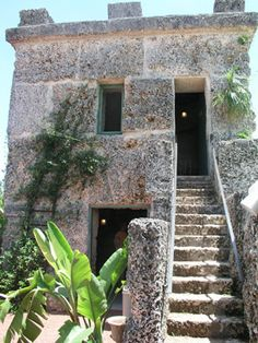 Ed's Tower with the 16 steps leading to his room. Homestead Florida, Coral Castle, Homesteading, Castles, Gate, Tower, Rock, Building, Plants