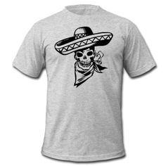 Heather grey Mexican Skull T-Shirts (Short sleeve)  You Can Put this design on any of the 100+ Wearable options or assessors!!