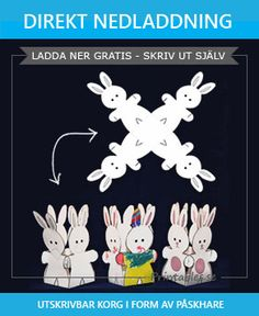 Påskkorg: Påskhare Easter Crafts, Crafts For Kids, Holidays And Events, Kids And Parenting, Printables, Christmas Ornaments, Holiday Decor, Children, Rabbits