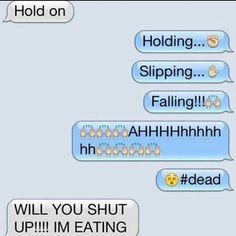 Funny Texts With Emojis People Ideas - Funny text conversations - Funny Emoji Texts, Funny Text Memes, Text Jokes, Really Funny Memes, Funny Relatable Memes, Funny Jokes, Emoji Puns, Hilarious Texts, Fun Funny