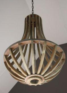sobere houten hanglamp oud grijs landelijke kroonluchter no.39