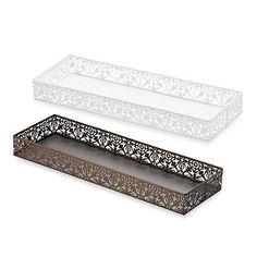 Steel Lace Toilet Tank Tray - BedBathandBeyond.com I like the white :)