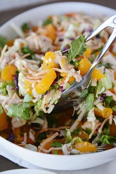 Mandarin Orange Chicken Salad - so good! We added craisins and tried it with poppyseed dressing as well and it was delicious! Her dressing recipe is also really good!