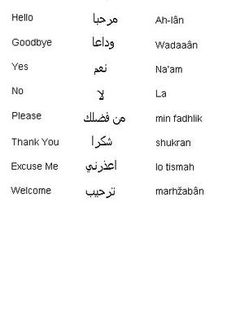 With this basic Arabic greetings and words list, my trip to Dubai will be much more easier. People will feel astonished if they hear that I can speak Arabic. Spoken Arabic, Speak Arabic, English Language Learning, Learn A New Language, Saint Coran, Learn Arabic Alphabet, Arabic Phrases, Arabic Quotes, Learn Arabic Online