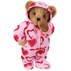 Sweeter than sweet and cuter than cute, our adorable Sweetheart Hoodie- Footie Bear will definitely warm your Valentine's heart. Ready for lots of cuddle time, this Bear wears a pink Hoodie-Footie printed with red hearts. Bear Valentines, Valentine Day Gifts, Pet Toys, Baby Toys, Vermont Teddy Bears, Personalised Teddy Bears, We Bear, Boyds Bears, Cute Teddy Bears