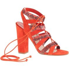 Paul Andrew For J.Crew Lace-Up High-Heel Sandals (781 AUD) ❤ liked on Polyvore featuring shoes, sandals, high heel sandals, suede lace up sandals, snakeskin shoes, lace up high heel sandals and j.crew