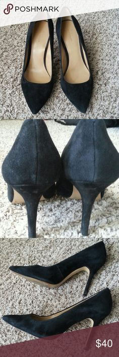 Ann Taylor Heels Black suede Ann Taylor heels in good used condition. Some wear on the heels as pictured. Too big for me :-) Ann Taylor Shoes Heels