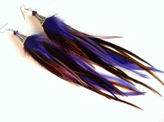 Violet Feather Earrings - Plum Pixie - Long Purple Rooster Feather Earrings (limited edition)