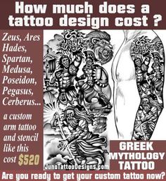 how does much a tattoo cost, zeus hades hares greek mythology tattoo, juno tattoo design