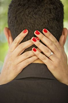 engagement photos, red nails, ring shot, photos by Courtney Bowlden Photography