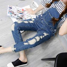 Dmart7dealWomens Jumpsuit Denim Overalls Ripped Casual Loose Skinny Jeans Pants Hole Salopette Jeans Women Overalls Plus size S-5XL