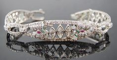 Art Deco Platinum Diamond Marquis, Ruby & Emerald Bracelet