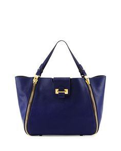V2EB9 Tom Ford Sedgwick Double-Zip Leather Tote Bag, Cobalt at neimans $2790