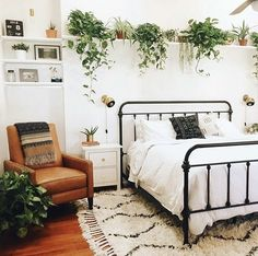 Bedroom with plants, retro style, vintage