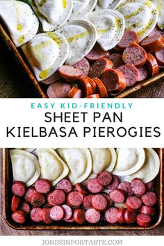 This quick and easy sheet pan kielbasa and pierogies dinner will become your new favorite go to for an easy weeknight dinner that is ready to serve in less than 45 minutes. Pierogies And Kielbasa, Kielbasa And Cabbage, Frugal Meals, Easy Weeknight Dinners, Easy Meals, Pork Recipes, Chicken Recipes, Dinner Recipes, Kitchens
