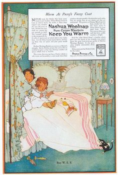 """Cats in Illustration: Nashua Woolnap Blankets - """"Warm as Pussy's Fuzzy Coat"""" 