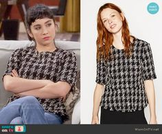 Mandy's tweed houndstooth top on Last Man Standing Mandy Last Man Standing, Fashion Outfits, Womens Fashion, Houndstooth, Everyday Fashion, Tweed, Peplum, Zara, Style Inspiration