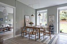 Grey kitchen dining space