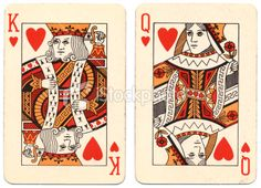 Marriage King and Queen of Hearts used playing cards Royalty Free Stock Photo